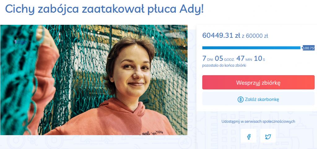 Ada poruszyłą serca darczyńców